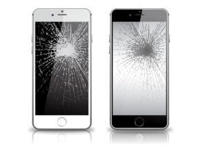 画面が割れたスマートフォン