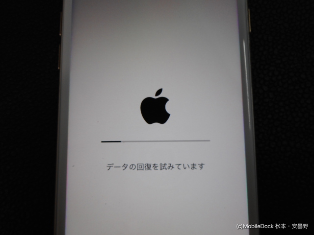 iPhoneのデータ回復を試みる画面